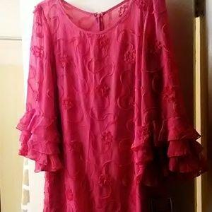 Dresses & Skirts - R&K Dress Soutache In Fuschia Size 12 Ruffles